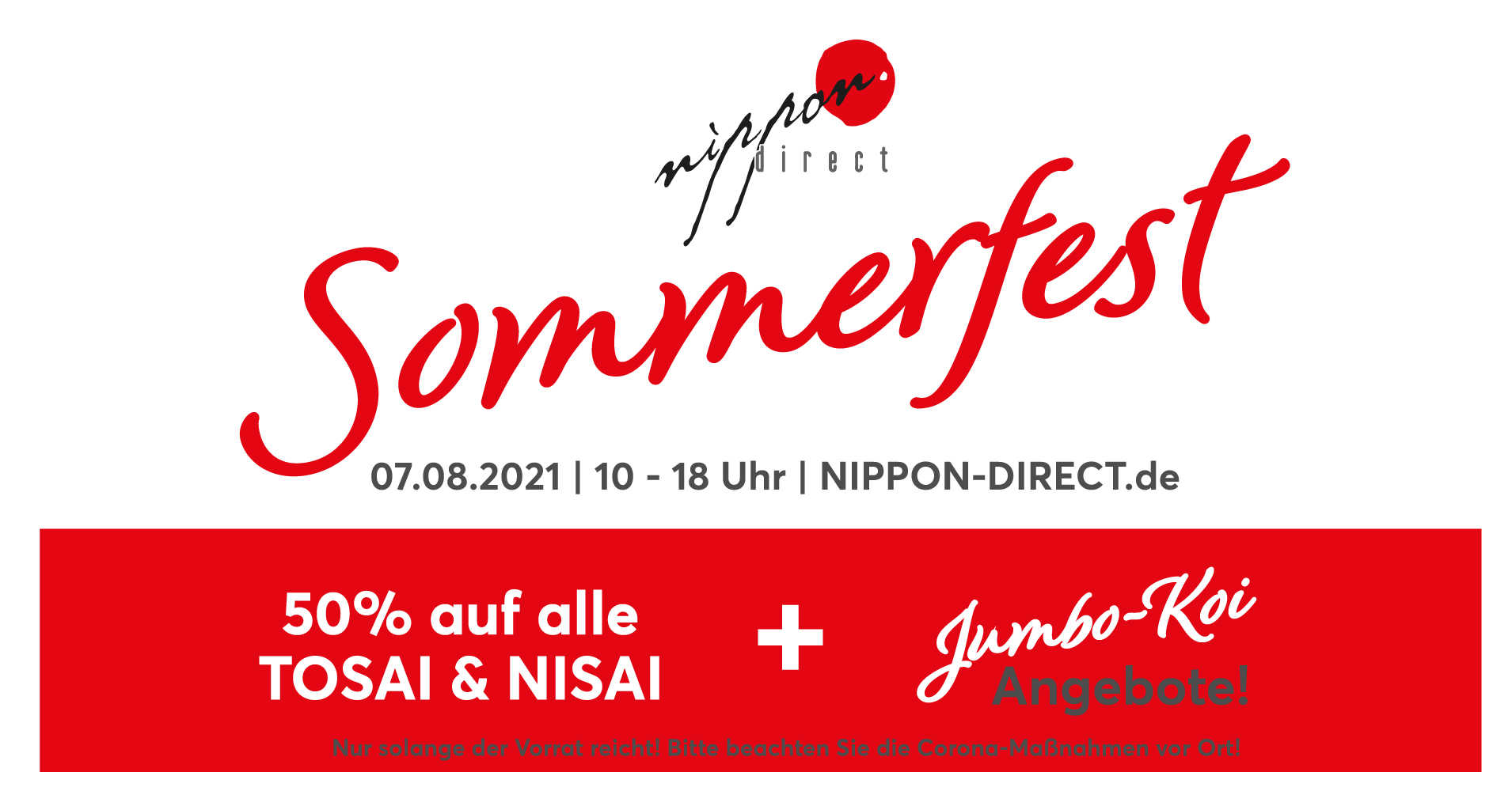 Nippon Direct Sommerfest - 50% auf alle Tosai & Nisai Koi
